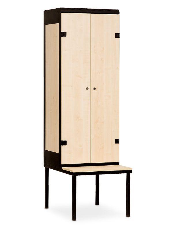 Šatní skříňka 2-dveřová, s lavičkou, cylindrický zámek, 1970x600x780 mm, Černá konstrukce, dveře LTD dekor Javor