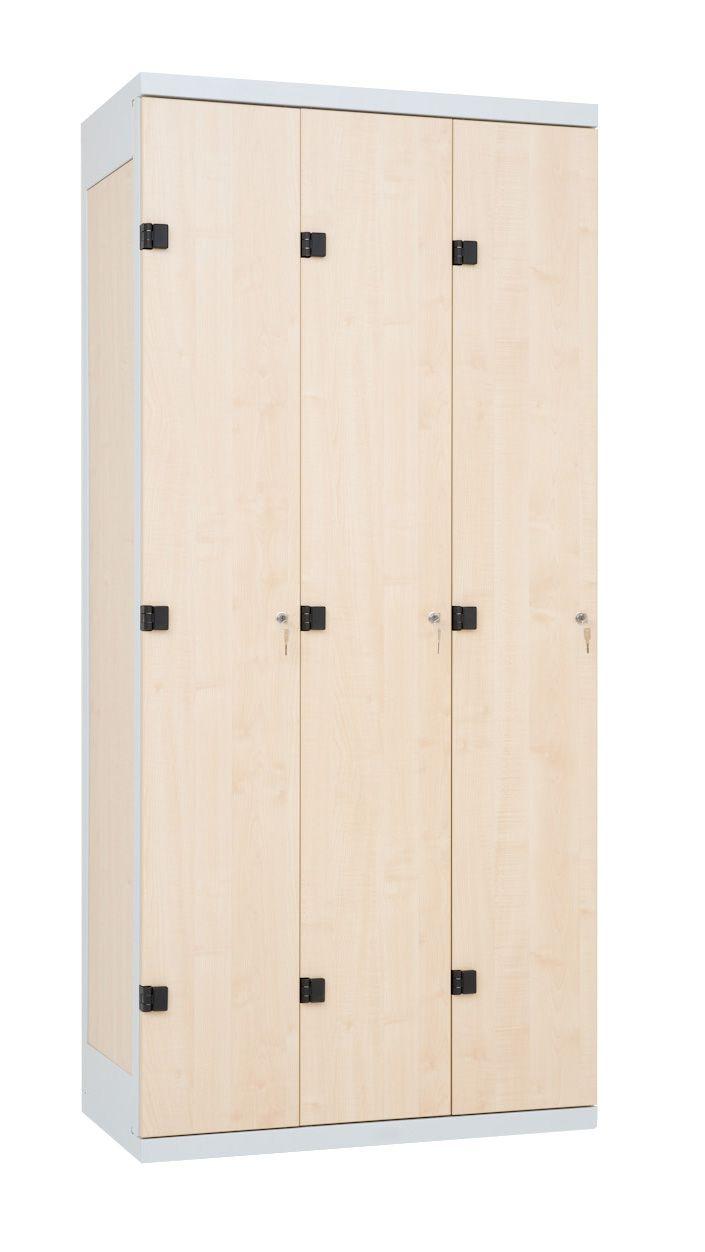 Šatní skříňka 3-dveřová, cylindrický zámek, 1970x900x500 mm, Šedá konstrukce, dveře LTD dekor Javor