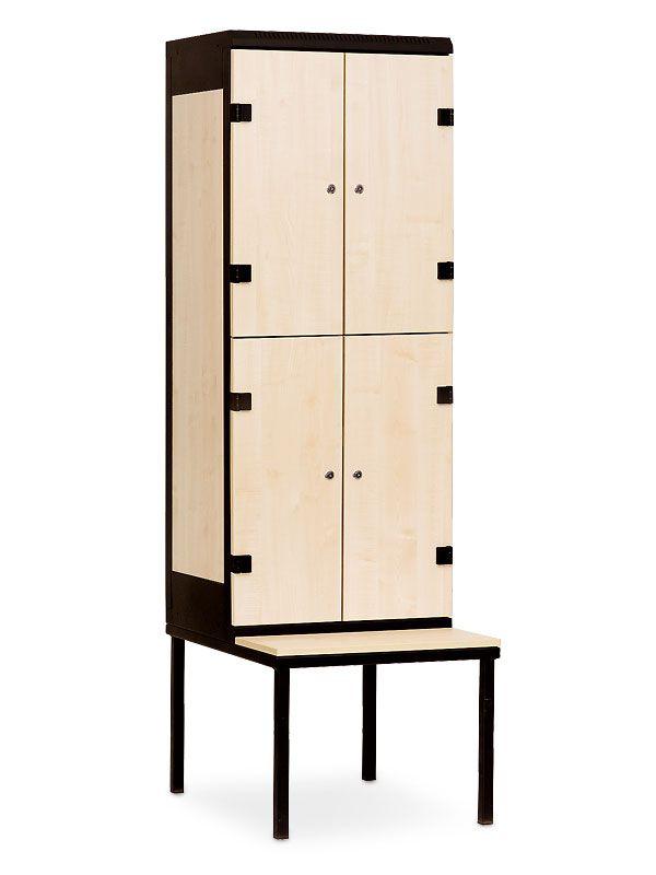 Šatní skříňka 4 boxy, s lavičkou, cylindrický zámek, 2195x600x780 mm, Šedá konstrukce, dveře LTD dekor Javor