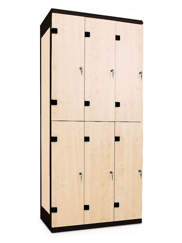 Šatní skříňka 6 boxů, cylindrický zámek, 1970x900x500 mm, Šedá konstrukce, dveře LTD dekor Javor