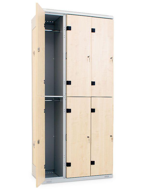 Šatní skříňka 6 boxů, cylindrický zámek, 1970x900x500 mm, Černá konstrukce, dveře LTD dekor Javor
