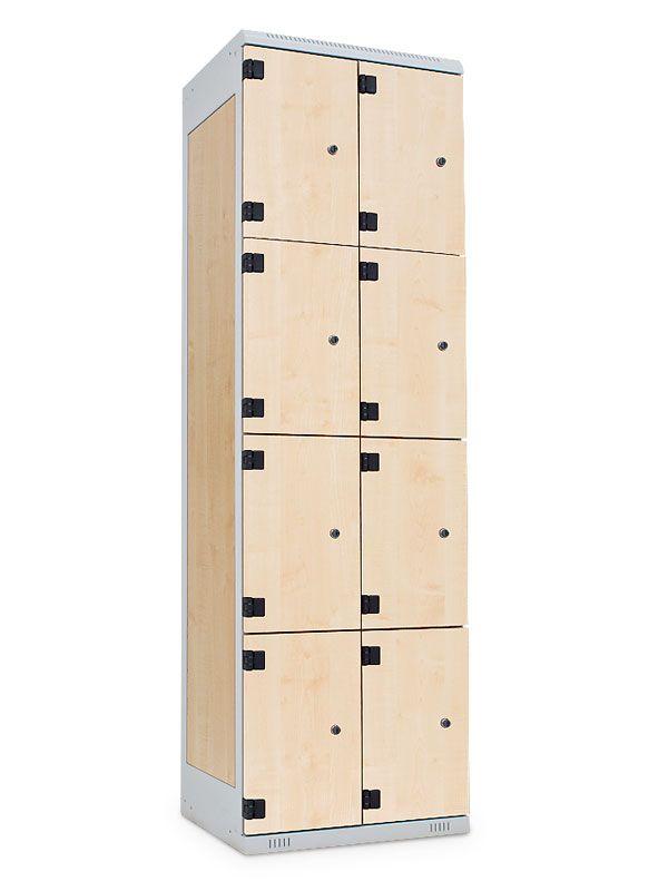 Šatní skříňka 8 boxů, cylindrický zámek, 1970x900x500 mm, Černá konstrukce, dveře LTD dekor Javor