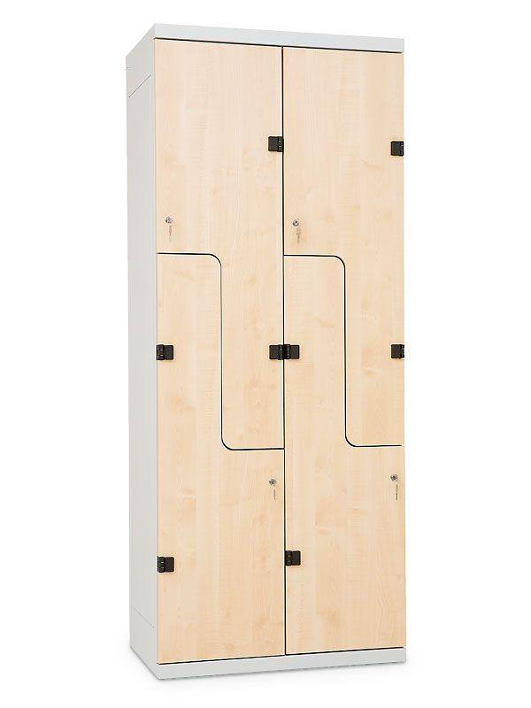 """Šatní skříňka """"Z"""", cylindrický zámek, 1970x900x500 mm, Šedá konstrukce, dveře LTD dekor Javor"""