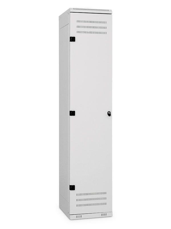Kovová Šatní skříňka 1-dveřová, cylindrický zámek, 1525x420x500 mm, Šedá konstrukce, dveře Černé