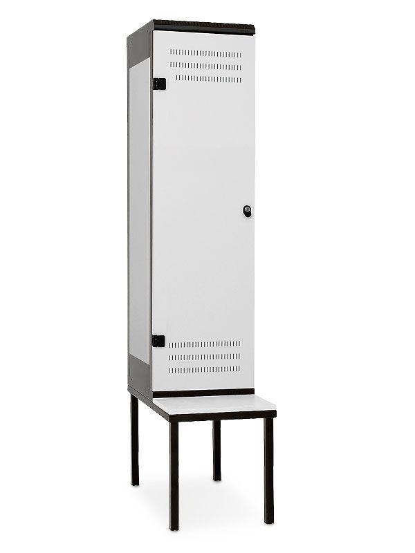 Kovová skříňka s lavičkou 1-dveřová, pro visací zámek, 2195x420x780 mm, Šedá konstrukce, dveře Šedé Triton