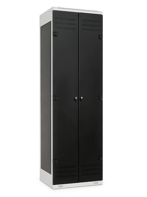 Kovová Šatní skříňka 2-dveřová, pro visací zámek, 1970x600x500 mm, Šedá konstrukce, dveře Černé