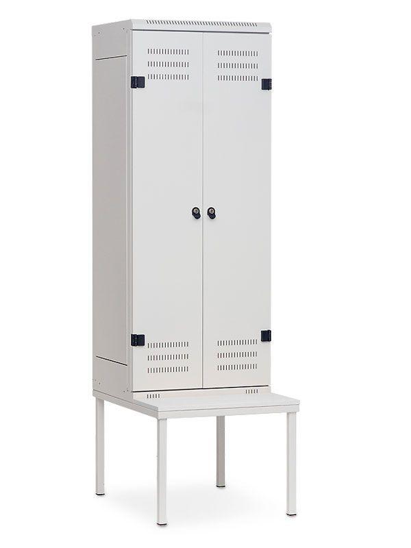 Kovová skříňka s lavičkou 2-dveřová, cylindrický zámek, 1970x600x780 mm, Šedá konstrukce, dveře Šedé