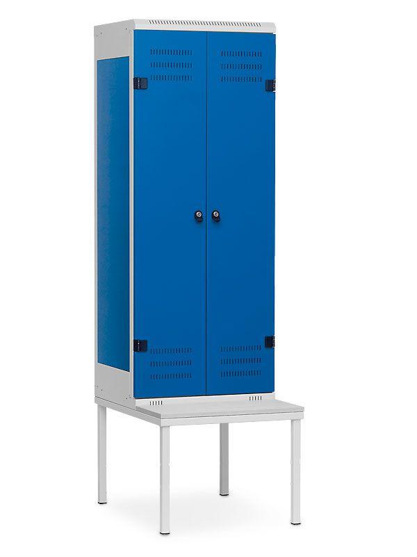 Kovová skříňka s lavičkou 2-dveřová, pro visací zámek, 1970x600x780 mm, Šedá konstrukce, dveře Modré