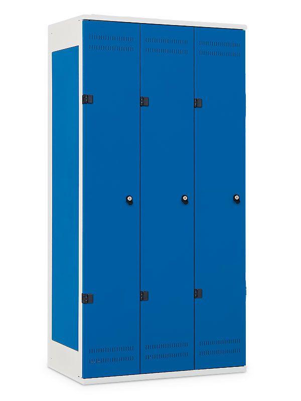 Kovová Šatní skříňka 3-dveřová, cylindrický zámek, 1970x900x500 mm, Černá konstrukce, dveře Černé
