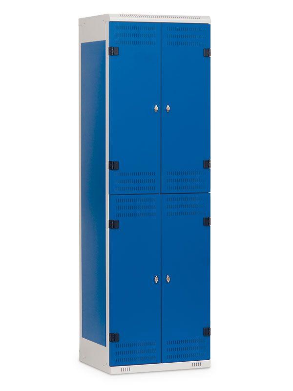 Kovová Šatní skříňka 4 boxy, cylindrický zámek, 1970x600x500 mm, Černá konstrukce, dveře Černé