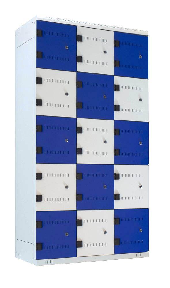 Kovová skříňka 15 boxů, cylindrický zámek, 1750x900x500 mm, Šedá konstrukce, dveře Černé