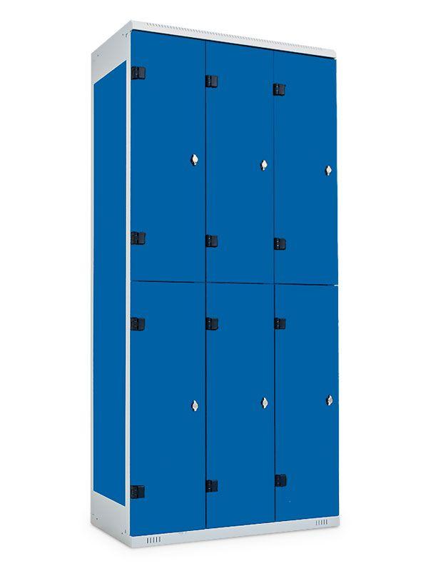 Kovová skříňka 6 boxů, pro visací zámek, 1970x900x500 mm, Černá konstrukce, dveře Černé