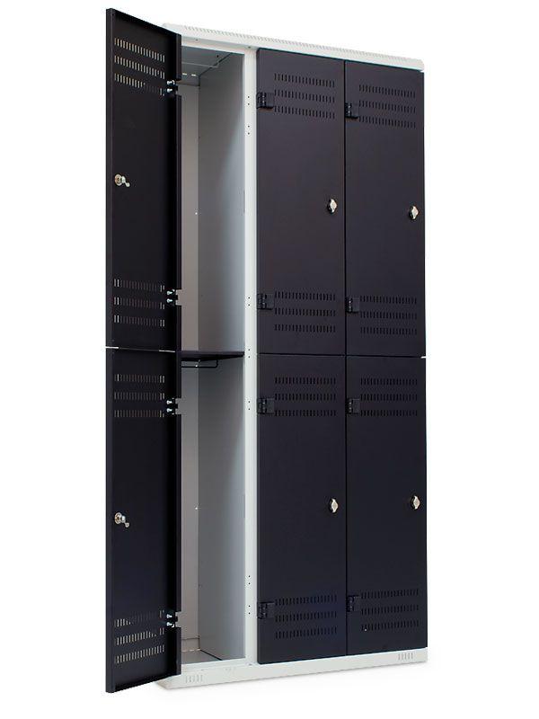 Kovová skříňka 6 boxů, pro visací zámek, 1970x900x500 mm, Šedá konstrukce, dveře Černé