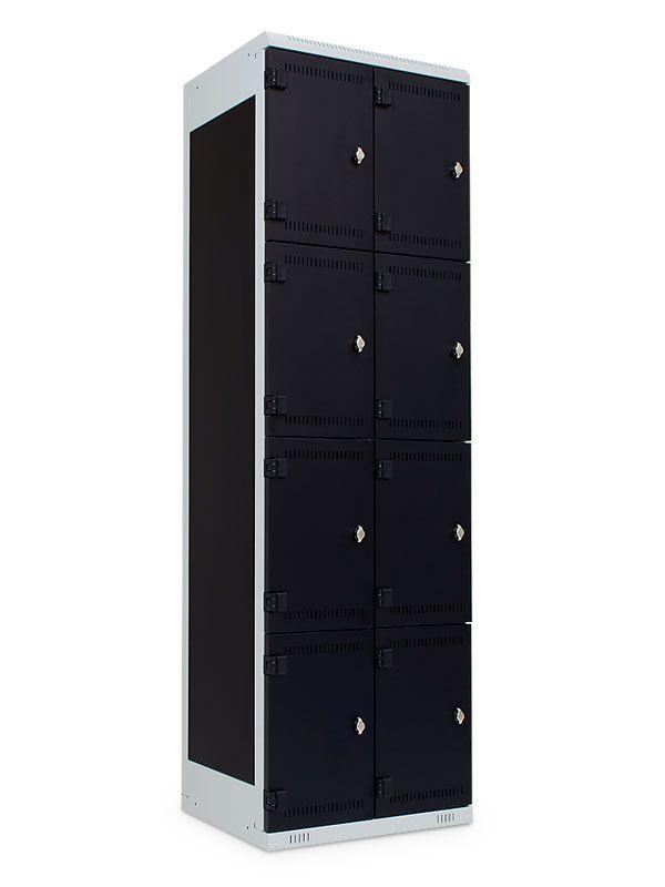 Kovová skříňka 8 boxů, pro visací zámek, 1970x600x500 mm, Šedá konstrukce, dveře Černé