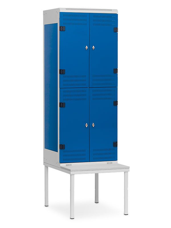 Kovová skříňka s lavičkou 4 boxy, cylindrický zámek, 1970x600x780 mm, Šedá konstrukce, dveře Černé