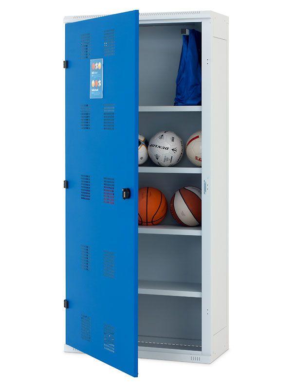Skříň na míče, 1970x900x400 mm, Šedá konstrukce, dveře Modré