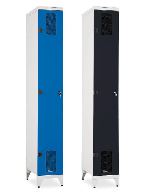 Skříň na lyže a snowboardy Pozink, 2155x320x600 mm, Modrá konstrukce, dveře Modré