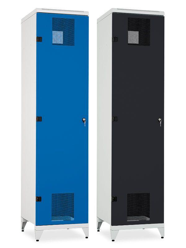 Skříň na lyže a snowboardy Pozink, 2155x520x600 mm, Šedá konstrukce, dveře Šedé