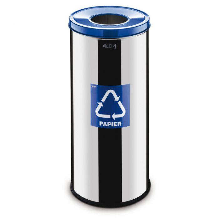 Kovový koš na tříděný odpad 45 l, Nerez lesk - Modrý