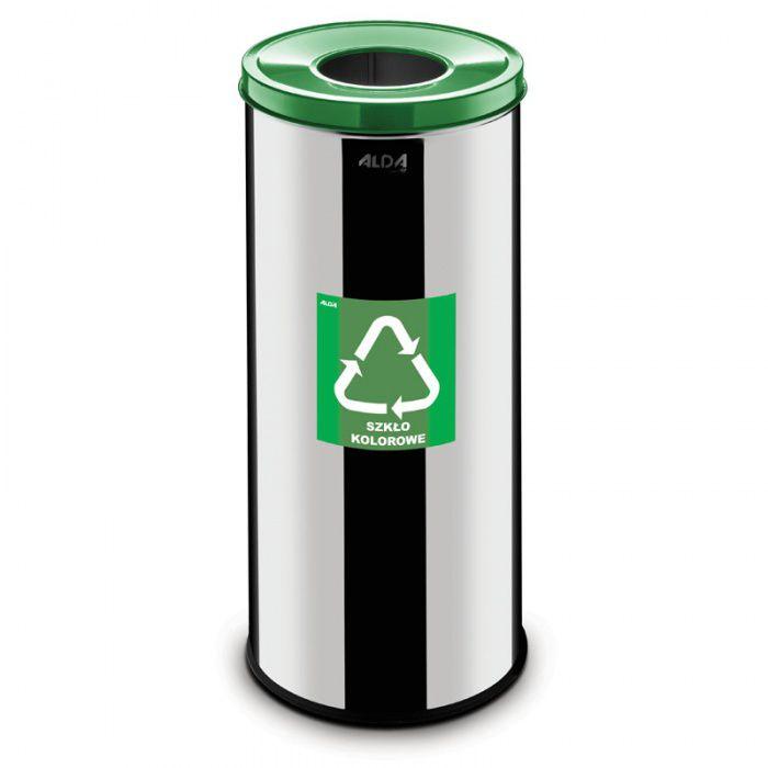 Kovový koš na tříděný odpad 45 l, Nerez lesk - Zelený