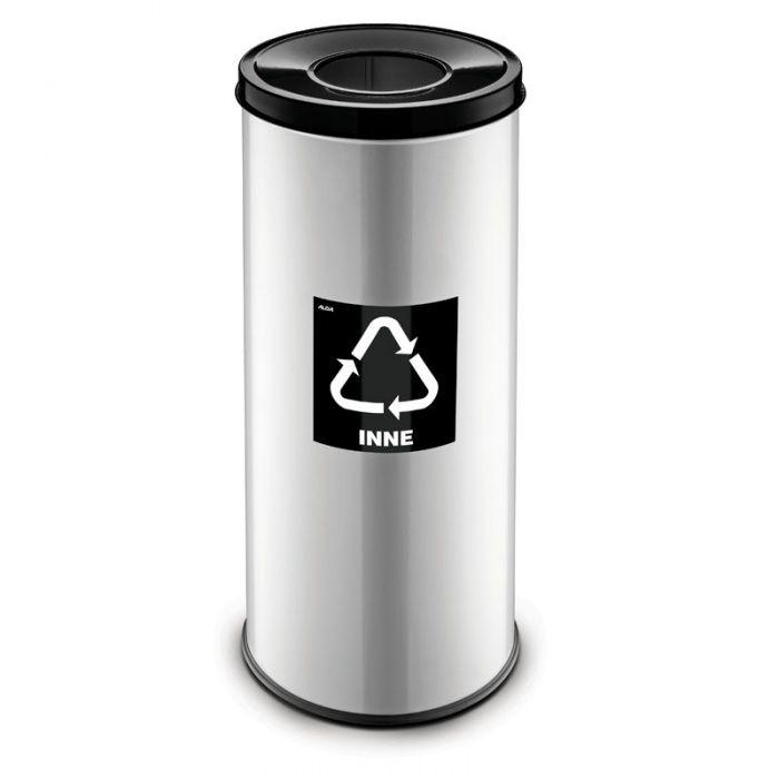 Kovový koš na tříděný odpad 45 l, Stříbrný - Černý