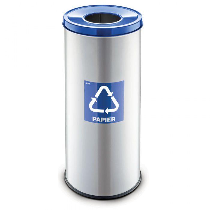 Kovový koš na tříděný odpad 45 l, Stříbrný - Modrý