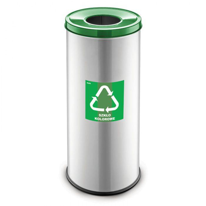 Kovový koš na tříděný odpad 45 l, Stříbrný - Zelený