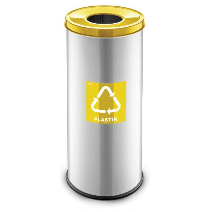 Kovový koš na tříděný odpad 45 l, Stříbrný - Žlutý