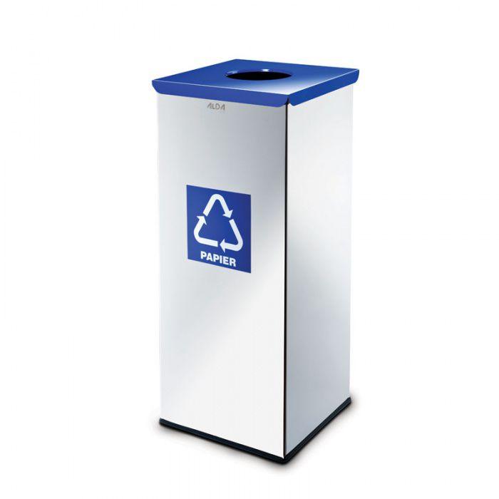 Kovový koš na tříděný odpad 50 l, Nerez lesk - Modrý