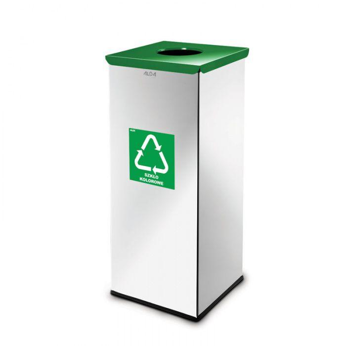 Kovový koš na tříděný odpad 50 l, Nerez lesk - Zelený