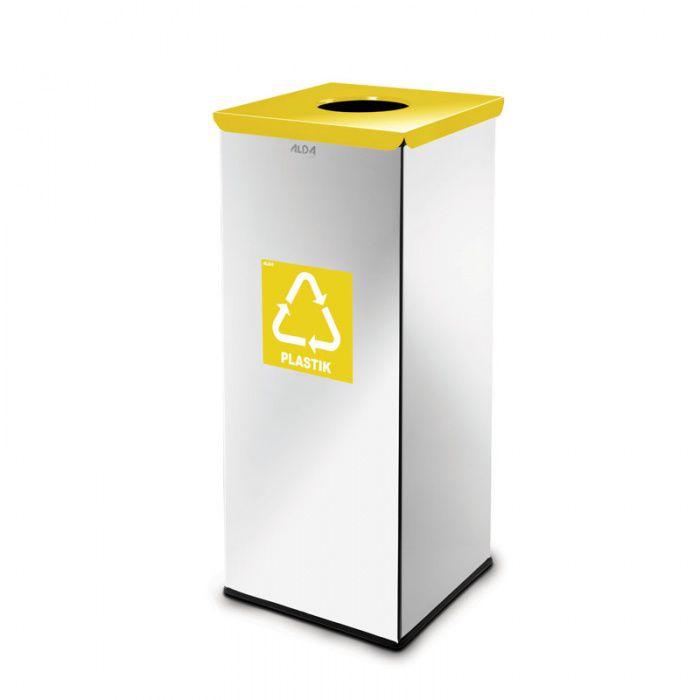 Kovový koš na tříděný odpad 50 l, Nerez lesk - Žlutý