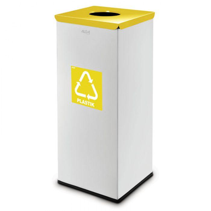 Kovový koš na tříděný odpad 50 l, Stříbrný - Žlutý