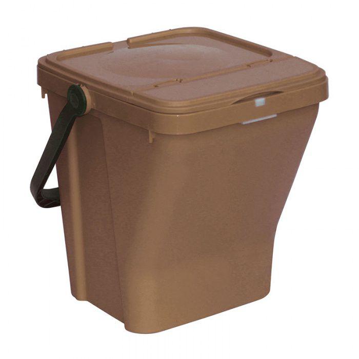 Plastový odpadkový koš na tříděný odpad ECOTOP II, Hnědý