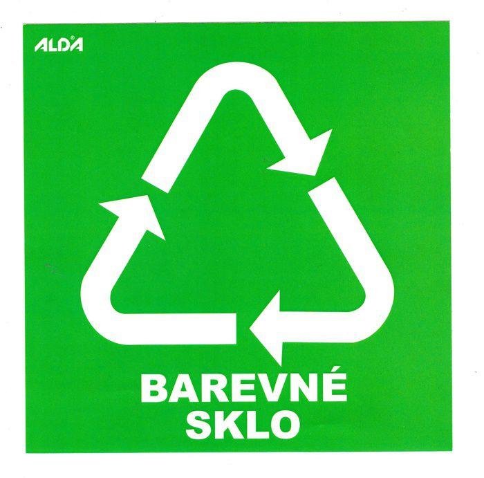 Samolepka tříděný odpad 150x150 mm - CZ - BAREVNÉ SKLO