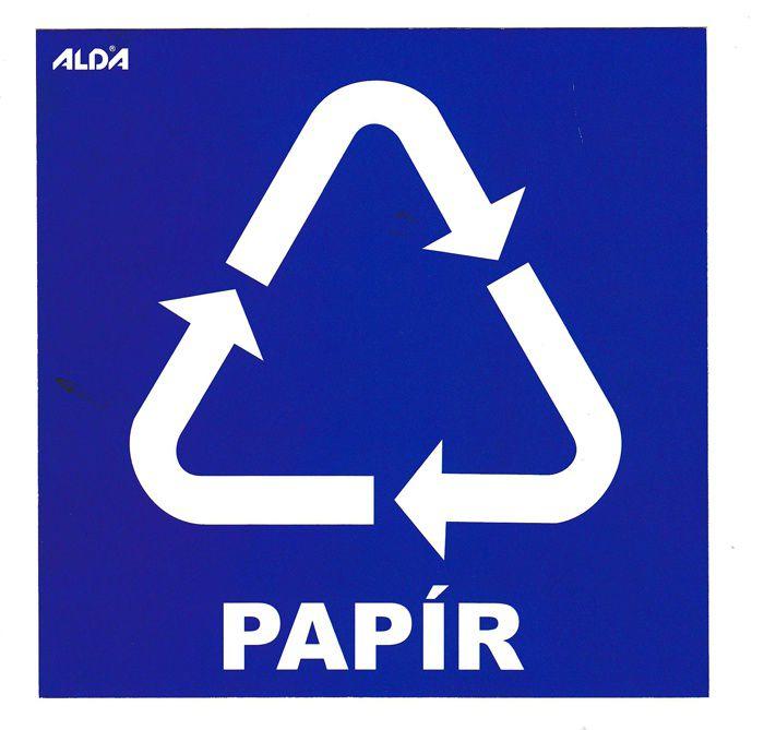 Samolepka tříděný odpad 150x150 mm - CZ - PAPÍR