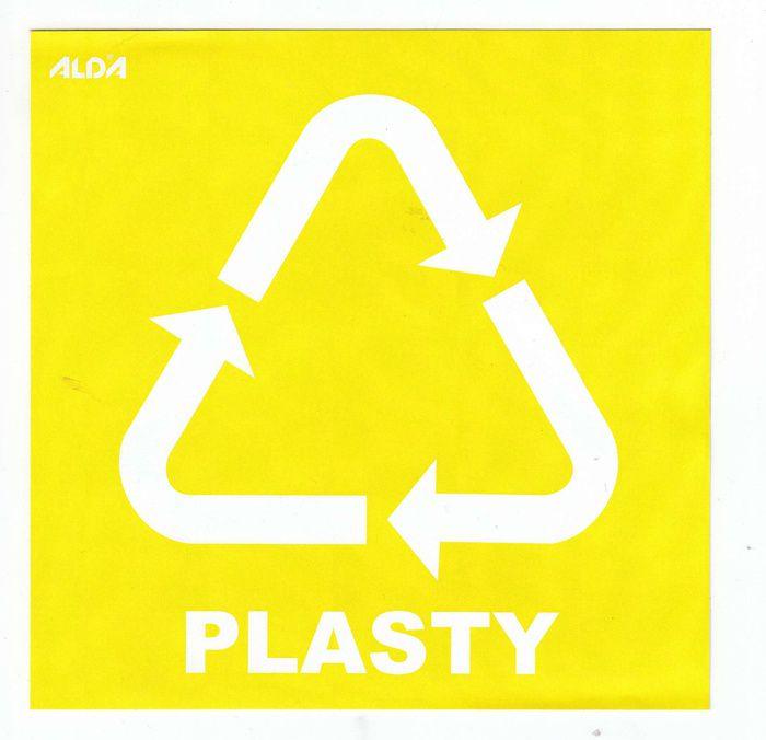 Samolepka tříděný odpad 150x150 mm - CZ - PLASTY