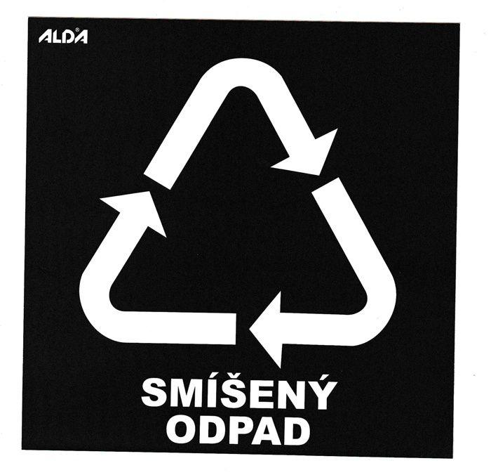 Samolepka tříděný odpad 150x150 mm - CZ - SMÍŠENÝ ODPAD