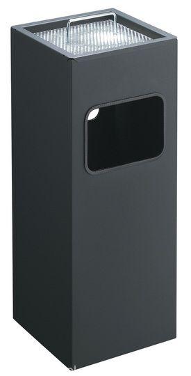 Kovový čtvercový odpadkový koš s popelníkem - Antracit