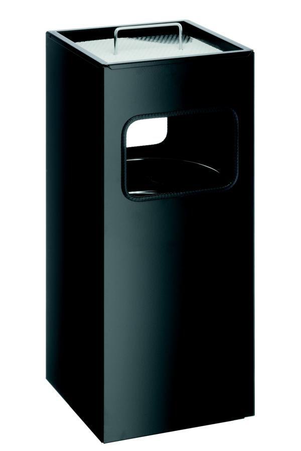 Kovový čtvercový odpadkový koš s popelníkem - Černý