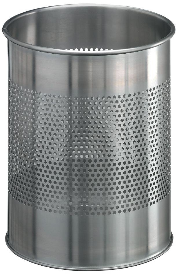 Kovový odpadkový koš kulatý DURABLE 15/P165 - Nerez