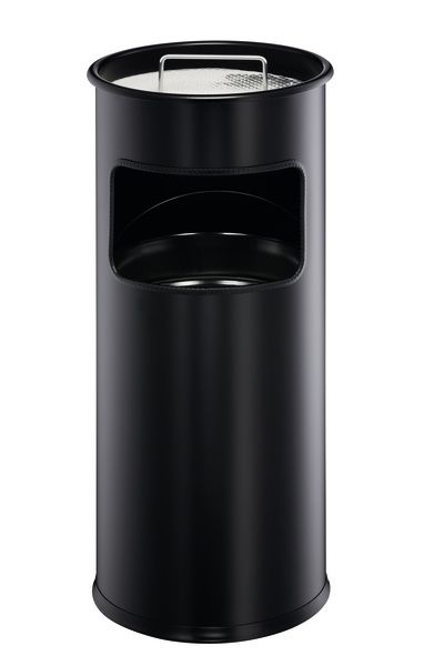 Kovový odpadkový koš s popelníkem 17+2 l - Černý