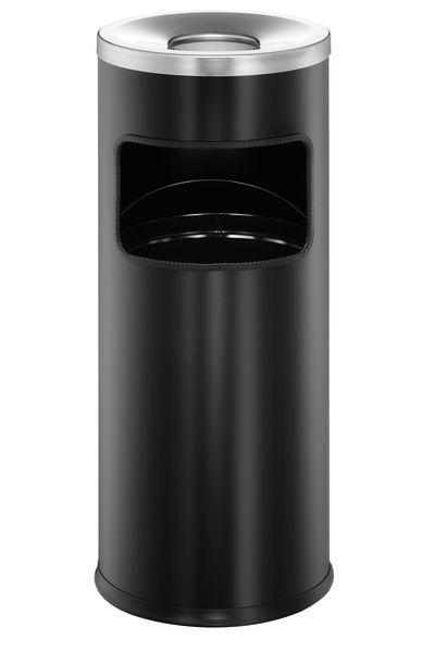 Odpadkový koš Safe s kulatým popelníkem - Černý