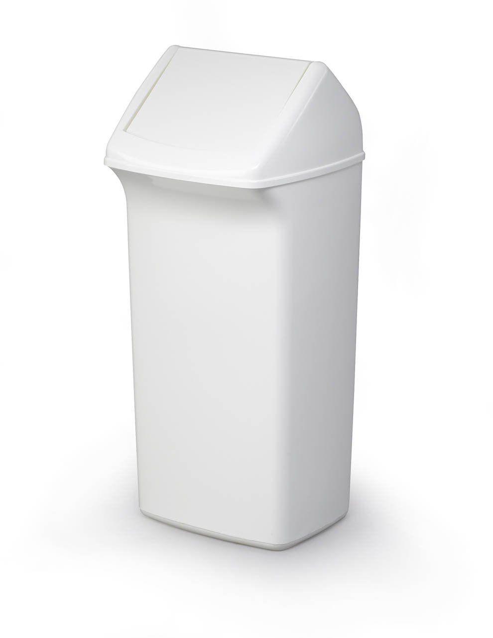 Odpadkový koš, Výkl. Poklop, DURABIN SQUARE 40 - Bílý