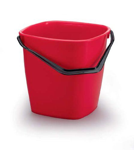 Stabilní čtvercový plastový kbelík, Objem 14 l - Červený 6 ks