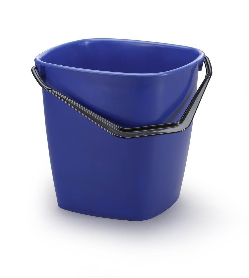 Stabilní čtvercový plastový kbelík, Objem 14 l - Modrý 6 ks