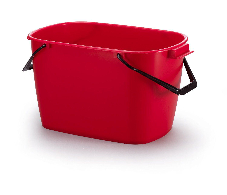 Stabilní čtvercový plastový kbelík, Objem 28 l - Červený 6 ks