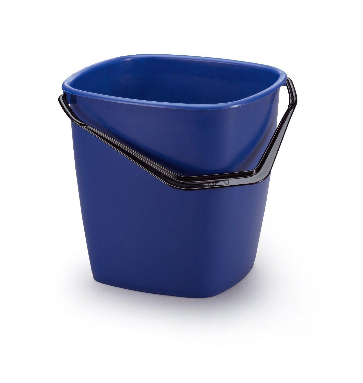 Stabilní čtvercový plastový kbelík, Objem 9,5 l - Modrý