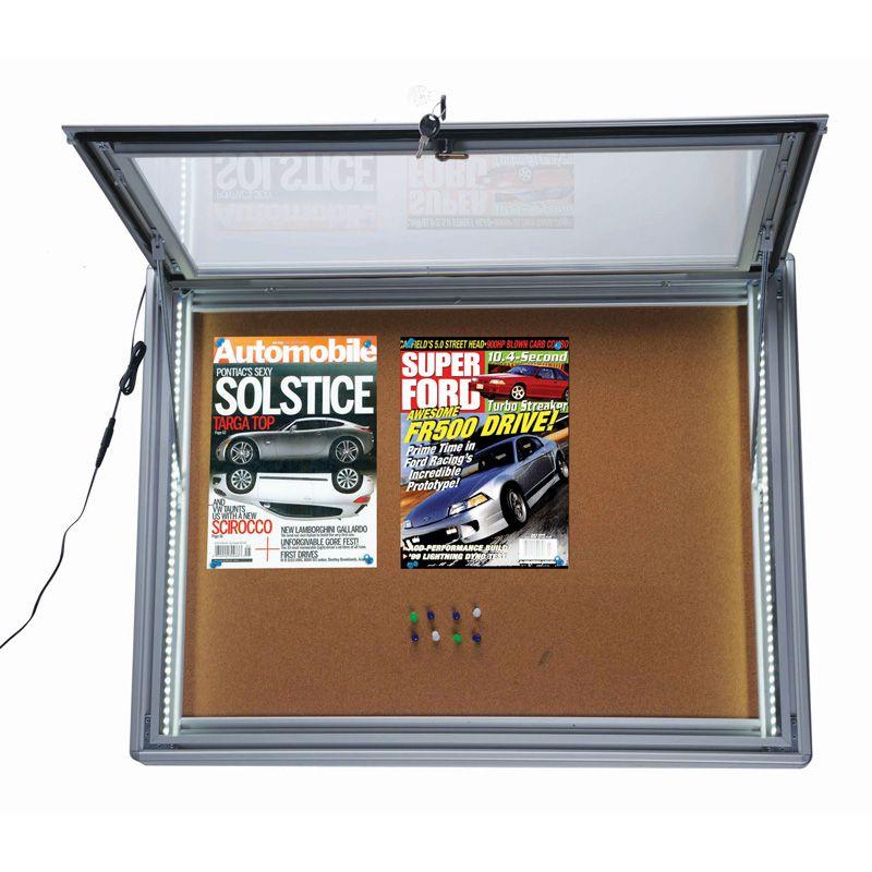 Světelná vitrína s korkovou stěnou - 9x A4