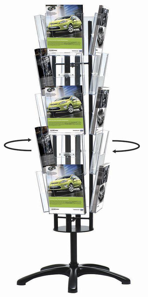Čtyřstranný stojan Multiside Brochure 20x A4 - Stříbrný