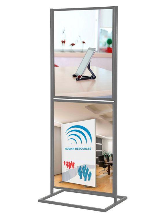 ECO Infoboard 2 rámy na plakát A1 - Stříbrný
